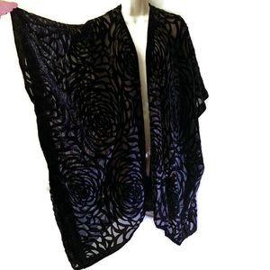 Sweaters - Vintage boho sheer black burnout velvet kimono